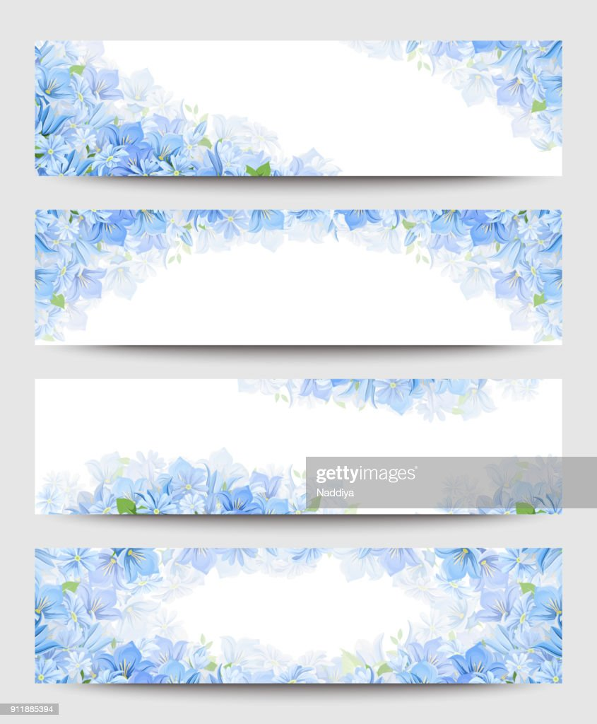 Web banners with blue flowers. Vector eps-10.
