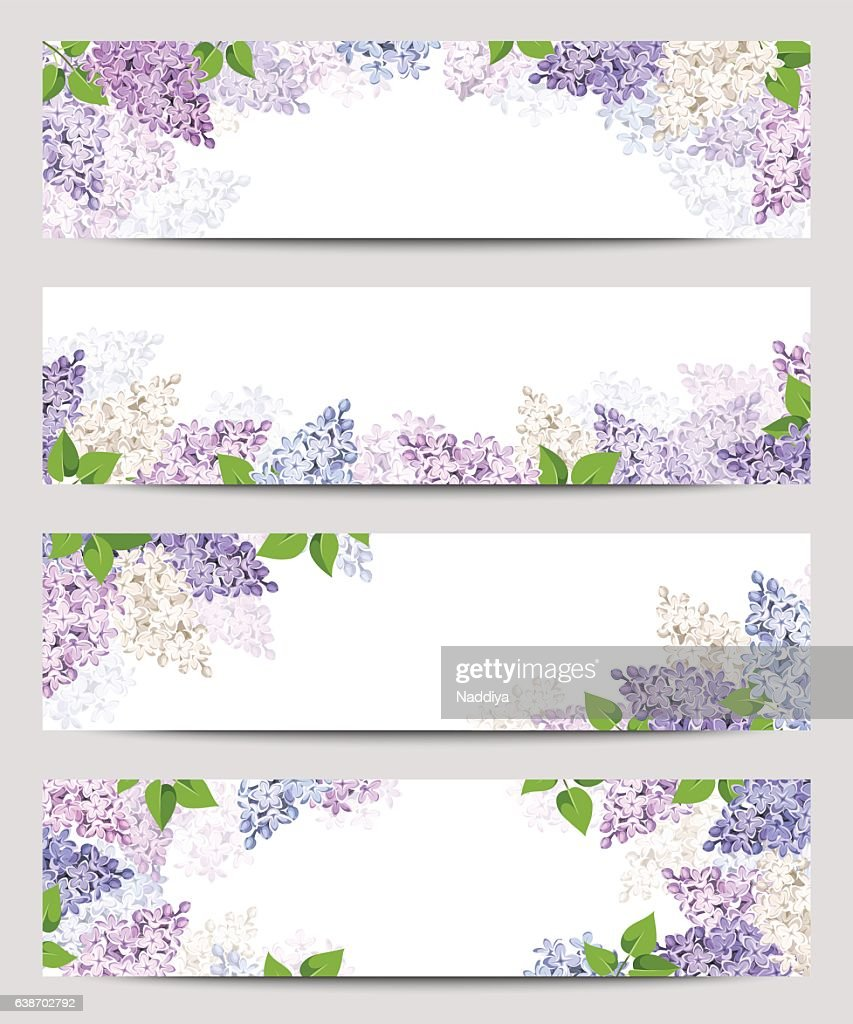 Web banners with lilac flowers. Vector eps-10.