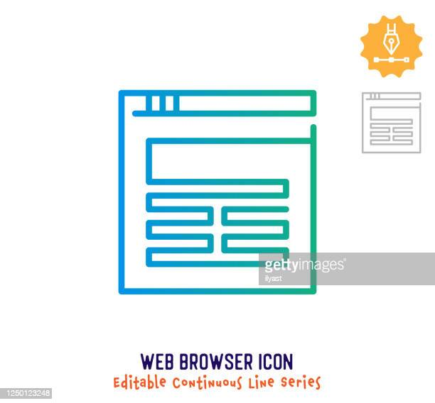web browser continuous line editable icon - landing page stock illustrations