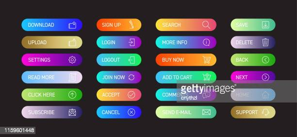 web button design with icons color gradient style for web page, mobile app and user interface design - push button stock illustrations