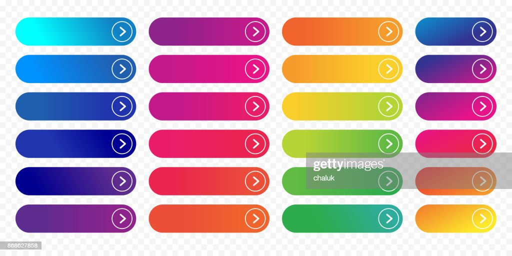 Web button flat design template next icon color gradient outline vector isolated