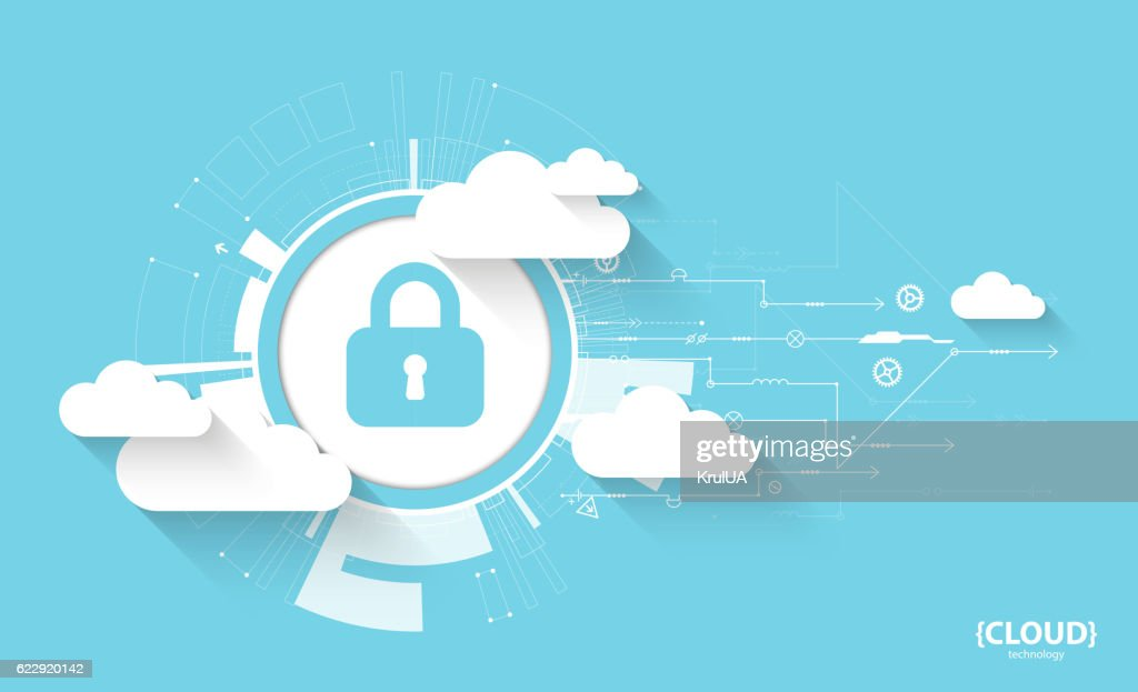 Web cloud technology. Protection concept. System privacy, vector illustration