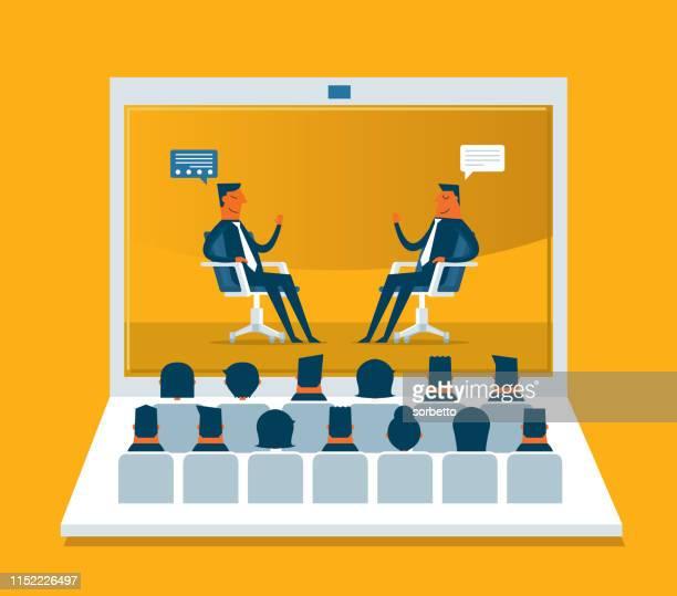 illustrations, cliparts, dessins animés et icônes de conférence web-business - conférence