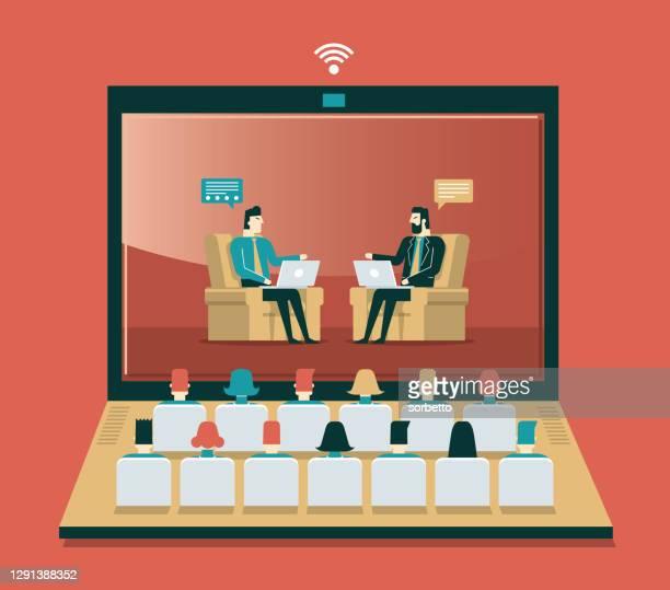 webkonferenz - geschäftsmann - internet konferenz stock-grafiken, -clipart, -cartoons und -symbole