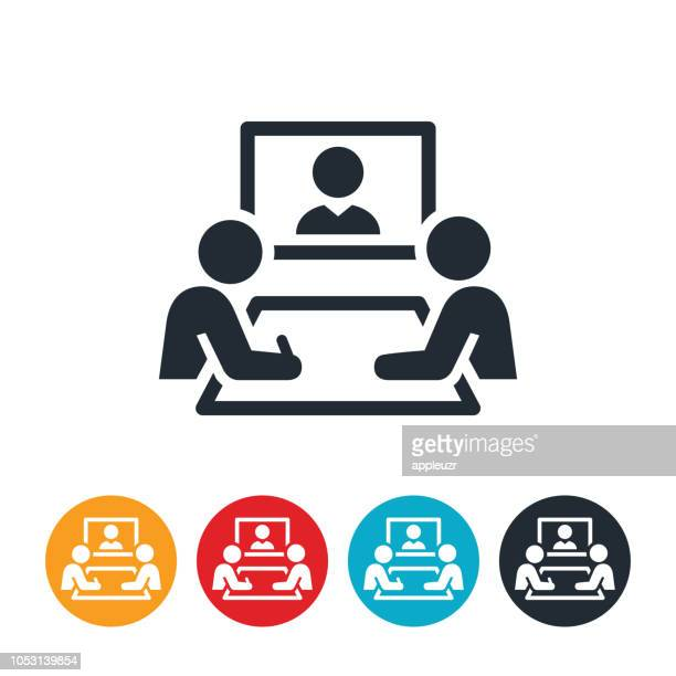 web conference icon - video conference stock illustrations