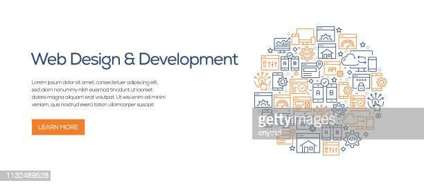 ラインアイコンを使用した web デザインと開発バナーテンプレート。広告、ヘッダー、ウェブサイトのための近代的なベクターイラスト。 - html点のイラスト素材/クリップアート素材/マンガ素材/アイコン素材