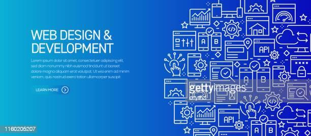 ライン アイコンを使用した web デザインと開発バナー テンプレート。広告、ヘッダー、ウェブサイトのための現代ベクトルイラスト。 - html点のイラスト素材/クリップアート素材/マンガ素材/アイコン素材