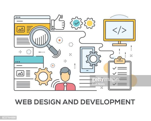 Web Design and Development Concept with icons