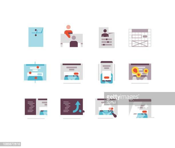 web デザインと開発のフラット アイコン シリーズ - ワイヤーフレーム作成点のイラスト素材/クリップアート素材/マンガ素材/アイコン素材