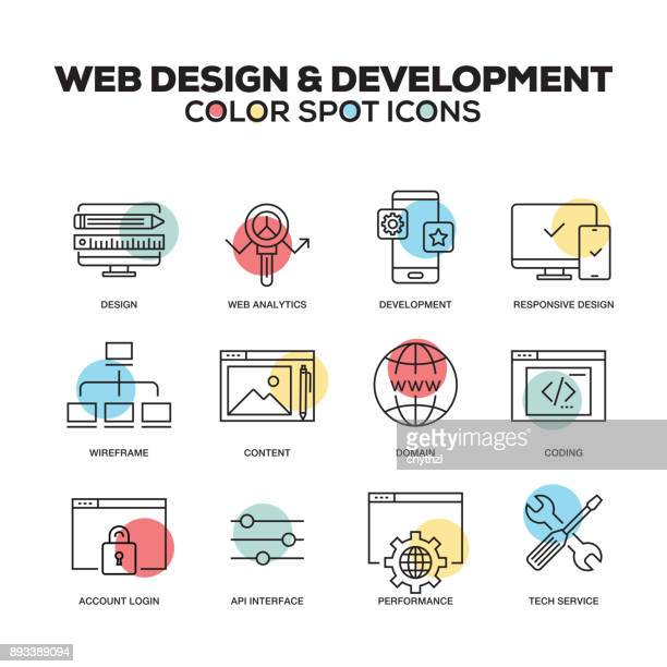 Web Design and Development icons. Vector line icons set. Premium quality. Modern outline symbols and pictograms.