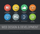 Web Design and Development keywords with icons