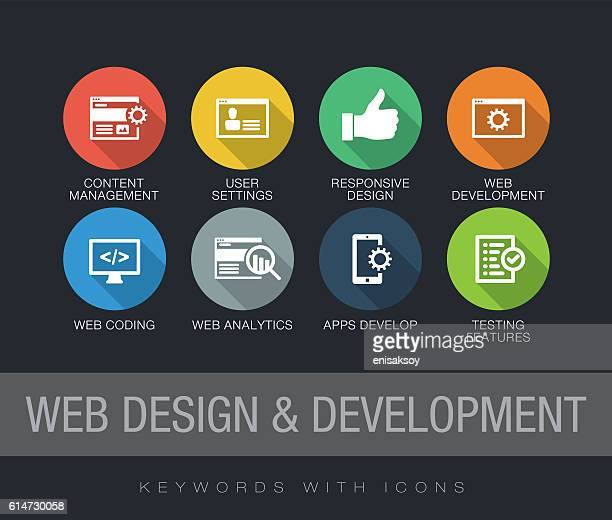 ilustrações, clipart, desenhos animados e ícones de web design and development keywords with icons - online advertising