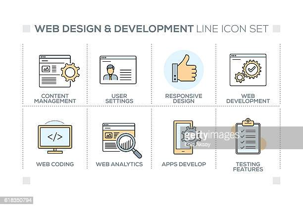 Web Design and Development keywords with line icons