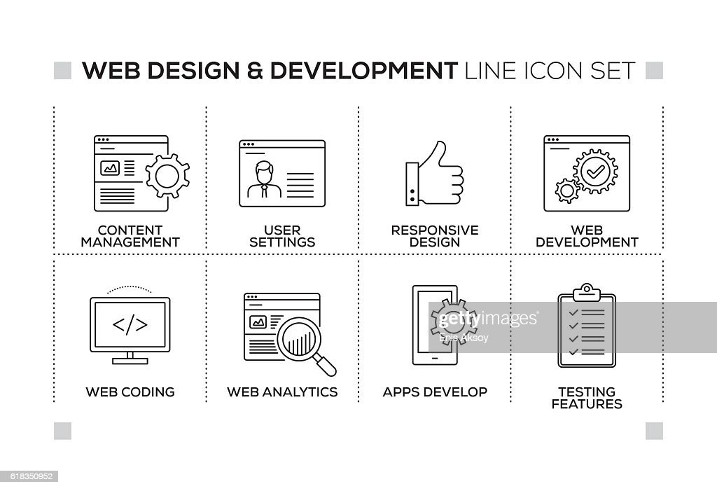 Web Design and Development keywords with monochrome line icons