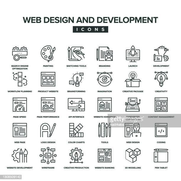 web design and development line icon set - launch event stock illustrations