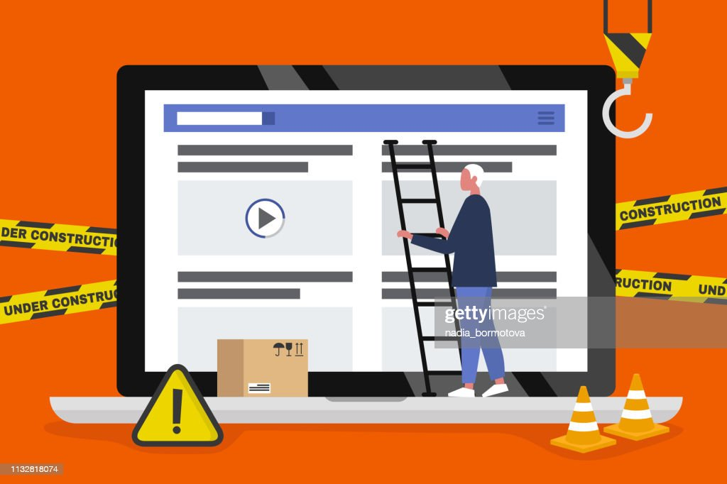 Web design and development. Site under construction. A young male professional working on a landing page. Flat vector illustration, clip art. Millennials at work. Digital creative industry.