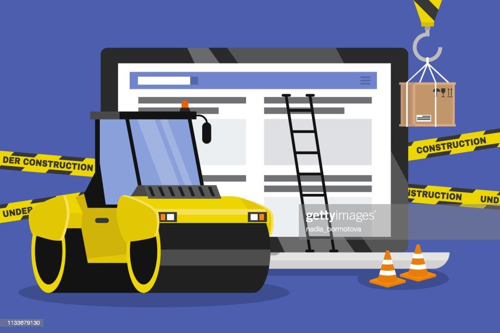 Web design and development. Site under construction. Working on a landing page. Flat vector illustration, clip art. Millennials at work. Asphalt paver. Digital creative industry.