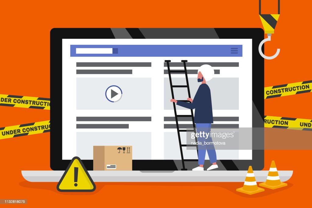 Web design and development. Site under construction. Young indian male professional working on a landing page. Flat vector illustration, clip art. Millennials at work. Digital creative industry.