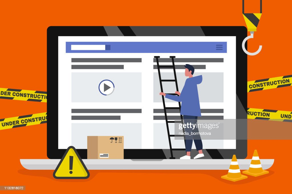 Web design and development. Site under construction. Young male professional working on a landing page. Flat vector illustration, clip art. Millennials at work. Digital creative industry.