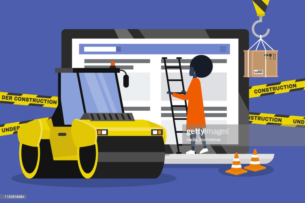 Web design and development. Site under construction. Young professional working on a landing page. Flat vector illustration, clip art. Millennials at work. Asphalt paver. Digital creative industry.