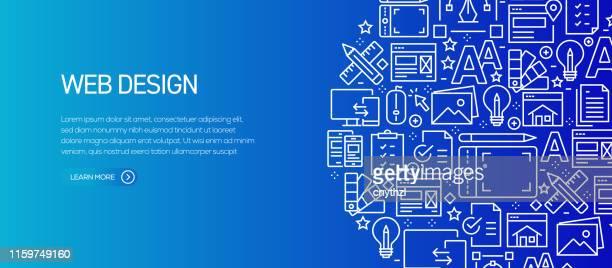 ilustraciones, imágenes clip art, dibujos animados e iconos de stock de plantilla de banner de diseño web con iconos de línea. ilustración vectorial moderna para anuncio, encabezado, sitio web. - tableta gráfica