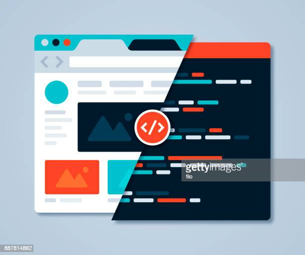 web design browser - coding stock illustrations