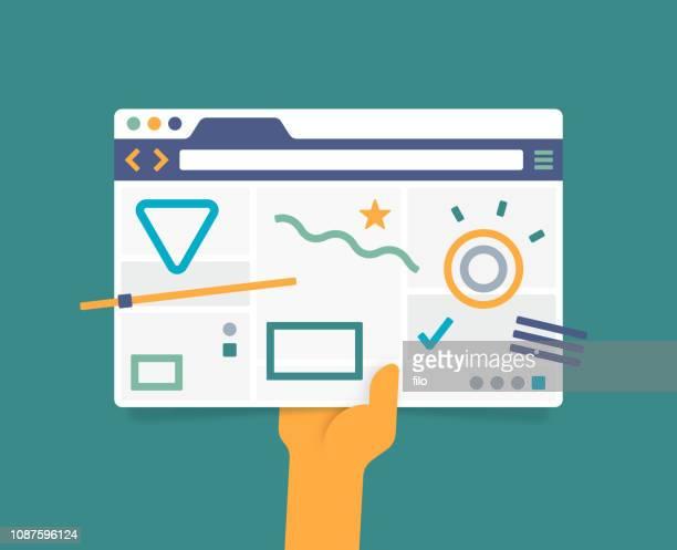 ux design webbrowser-fenster - berührungsbildschirm stock-grafiken, -clipart, -cartoons und -symbole