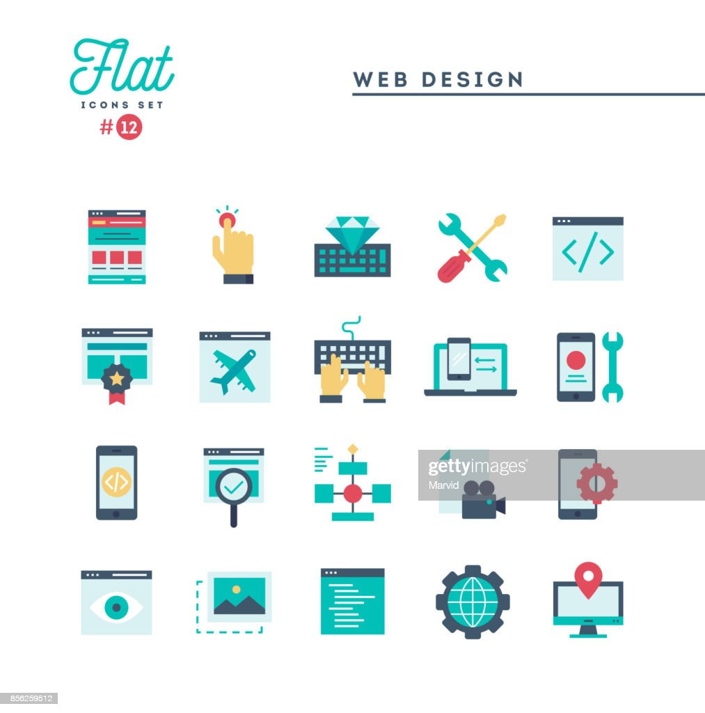 Web design, coding, responsive, app development and more, flat icons set