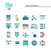 Web design, coding, responsive, app development and more, flat icons set
