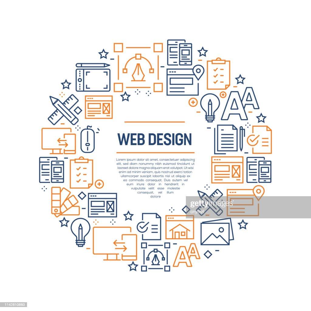 ウェブデザインコンセプト-カラフルなラインアイコン、円でアレンジ : ストックイラストレーション