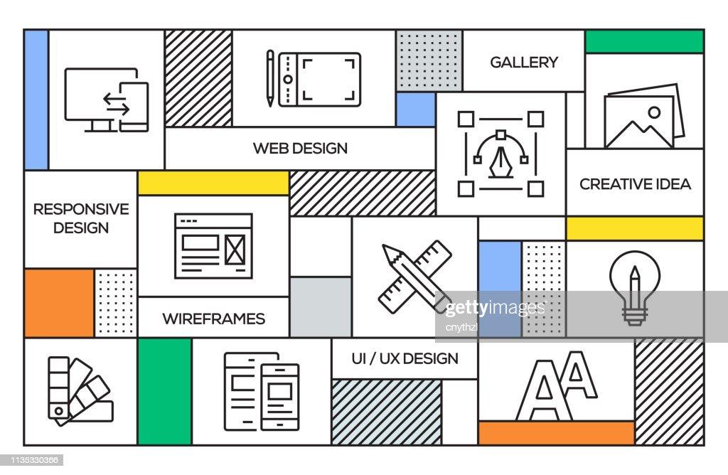 Web デザインの概念。ウェブデザインラインのアイコンと幾何学的なレトロスタイルのバナーとポスターの概念 : ストックイラストレーション