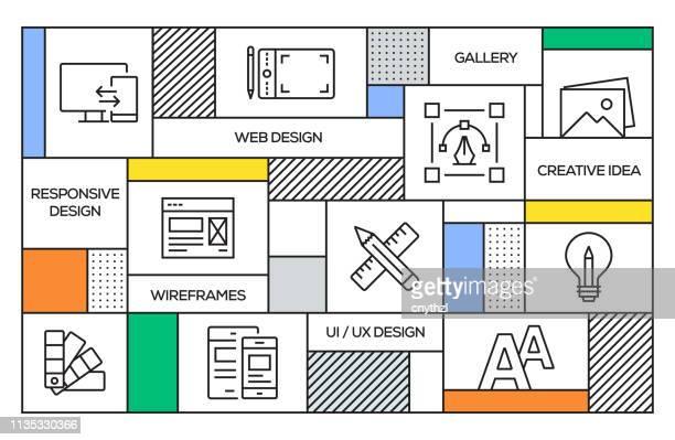 web デザインの概念。ウェブデザインラインのアイコンと幾何学的なレトロスタイルのバナーとポスターの概念 - ホームページ点のイラスト素材/クリップアート素材/マンガ素材/アイコン素材