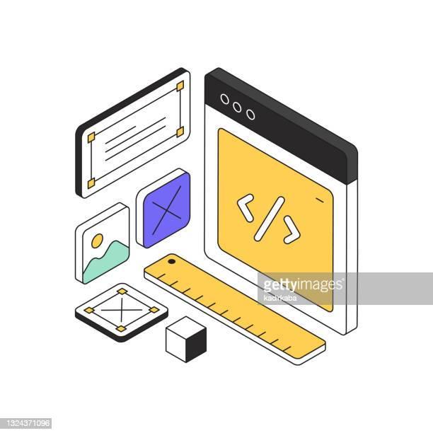 ウェブデザインコンセプトアイソメトリックウェブバナー、ポスター、表紙、バナーのための3次元デザイン - ホームページ点のイラスト素材/クリップアート素材/マンガ素材/アイコン素材