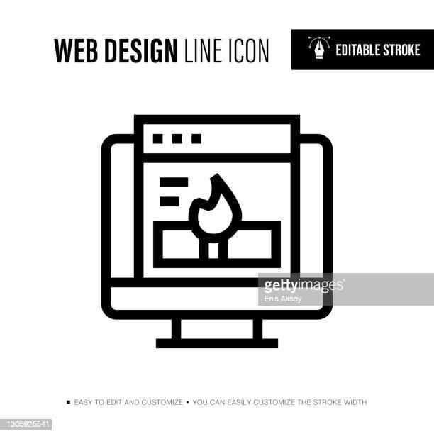 webdesign editable stroke line icon - responsives webdesign stock-grafiken, -clipart, -cartoons und -symbole