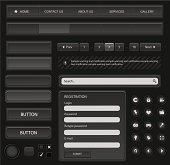 Web design elements set. Black