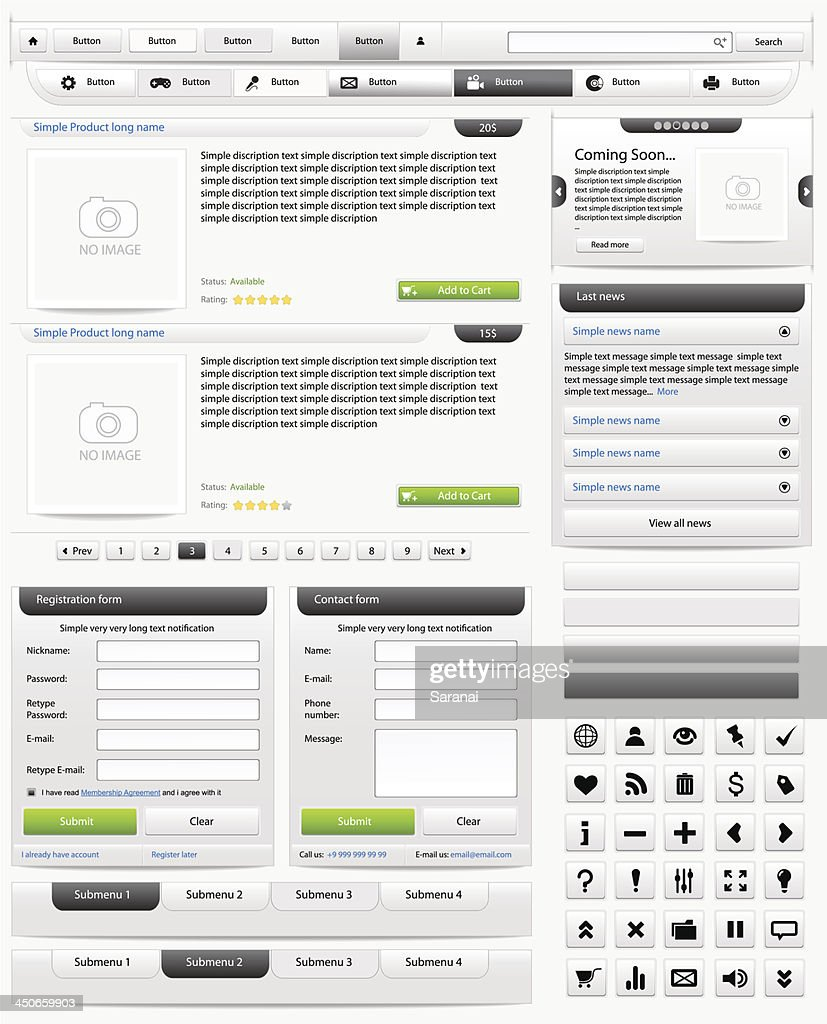 Web design elements set. Online shop 2. Vector illustration