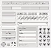 Web design elements set. White