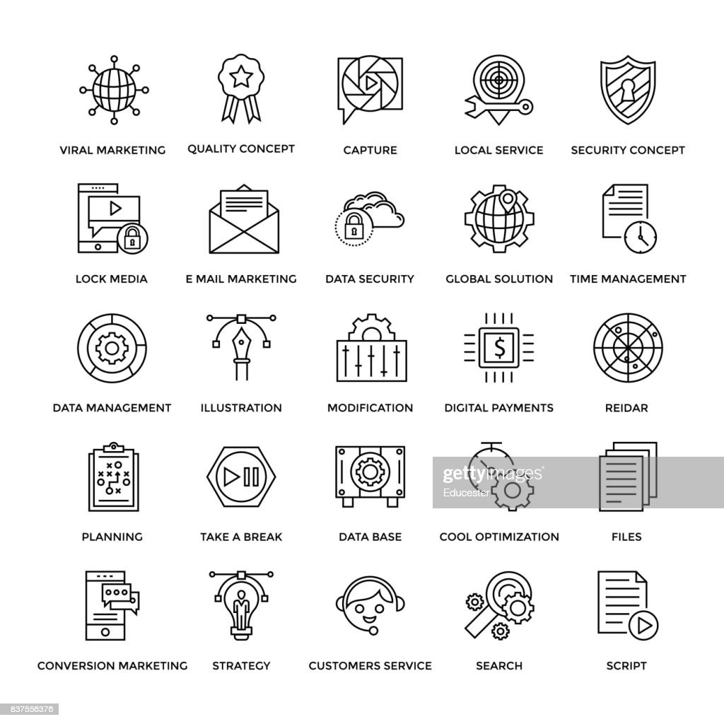 Web Design Flat Line Icons 2
