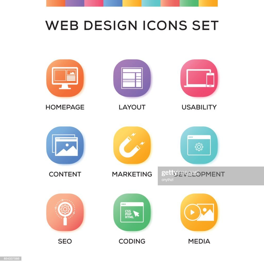Web Design Icons Set on Gradient Background
