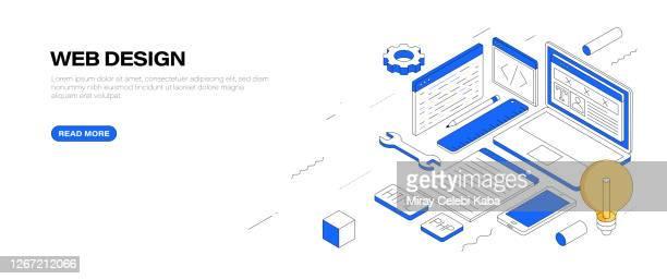 ウェブデザインアイソメバナーデザイン - ホームページ点のイラスト素材/クリップアート素材/マンガ素材/アイコン素材