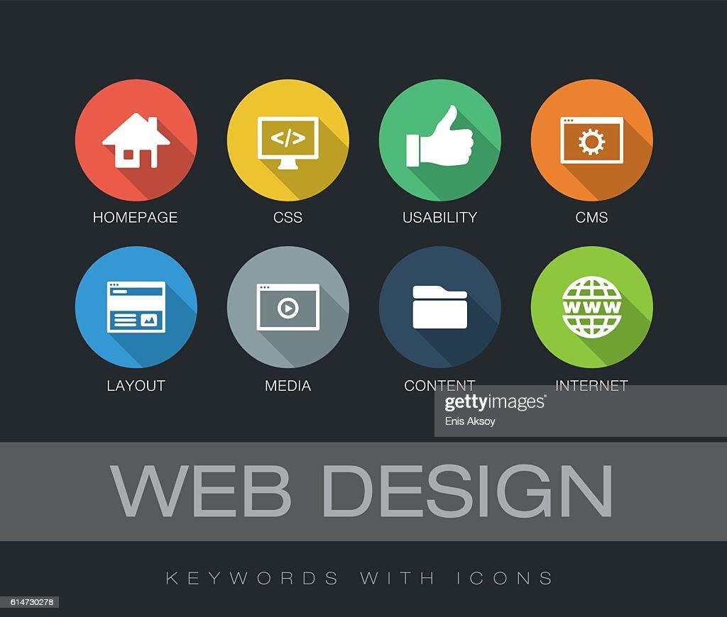 Web Design keywords with icons : ストックイラストレーション