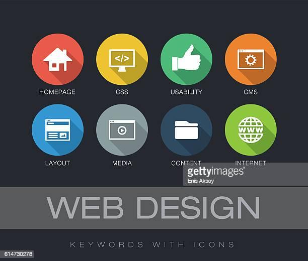 web design keywords with icons - ホームページ点のイラスト素材/クリップアート素材/マンガ素材/アイコン素材