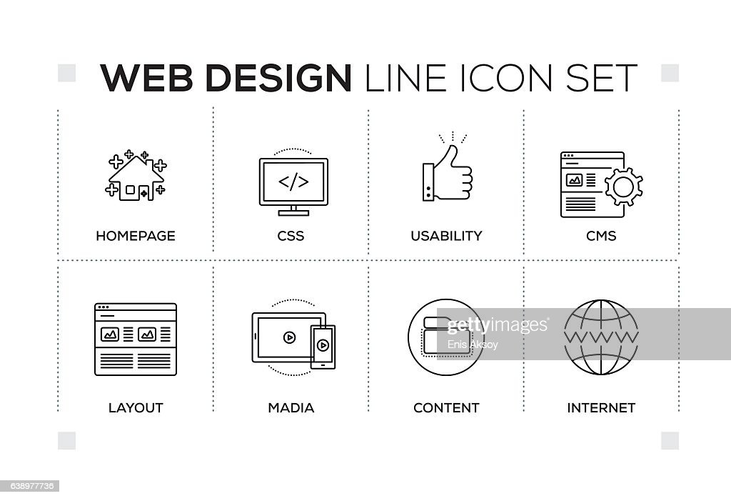 Web Design keywords with monochrome line icons