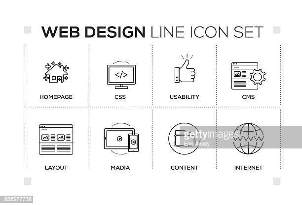 Web Design keywords with monochrome line icons