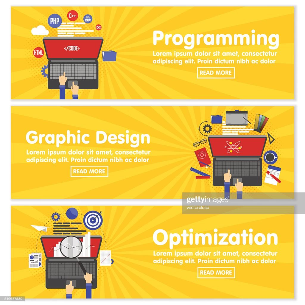 Web design programming SEO concept flat banners