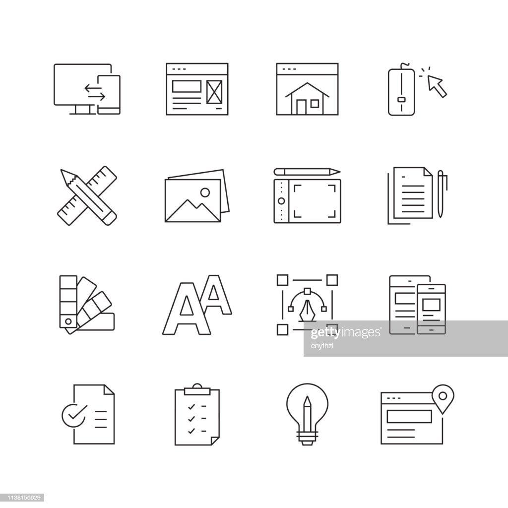 ウェブデザイン-細い線のベクトルアイコンのセット : ストックイラストレーション
