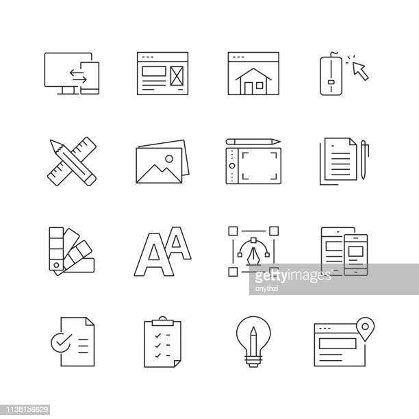 ウェブデザイン-細い線のベクトルアイコンのセット - ホームページ点のイラスト素材/クリップアート素材/マンガ素材/アイコン素材