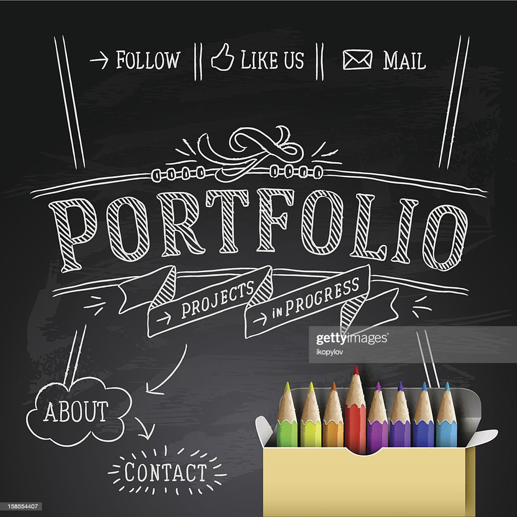 Web design template chalk writing, vector Eps10 Illustration
