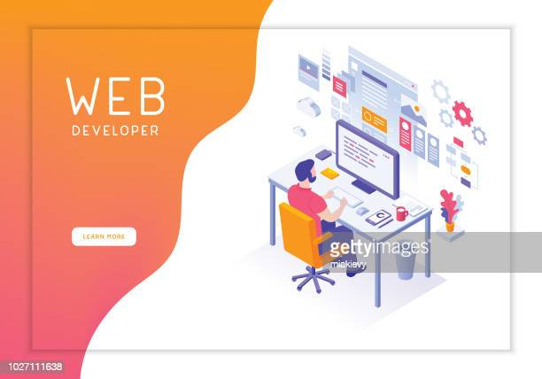web developer - the internet stock illustrations, clip art, cartoons, & icons
