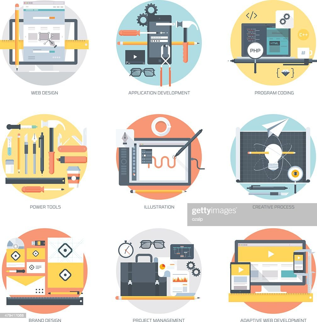 Web Development and Design flat style, colorful, vector icon
